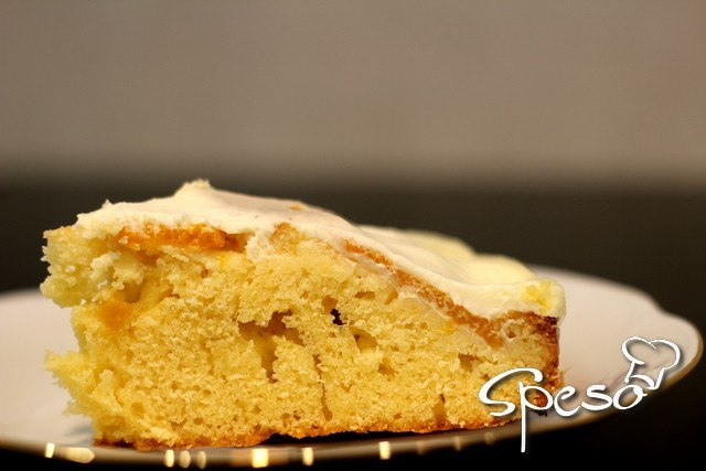 Рецепт очень быстрого и вкусного персикового пирога