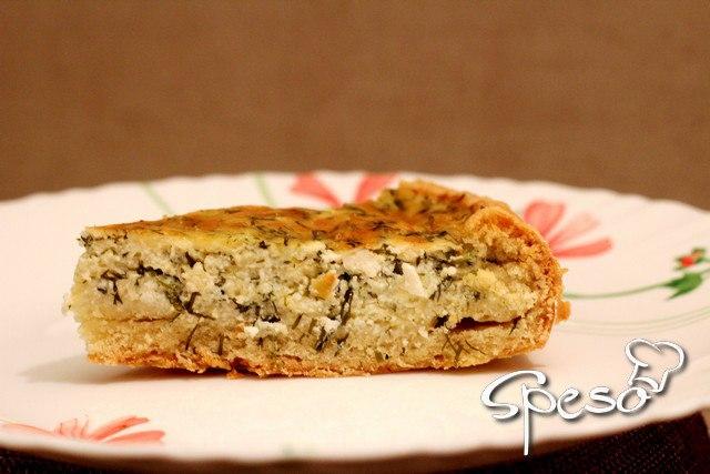 Сырно-творожный пирог с укропом